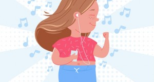 Cute child girl character listen to music. Happy dancing with mp3 player. Vector cartoon illustration